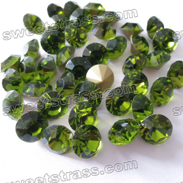 China Pointed Back Crystals Chatons Olivine