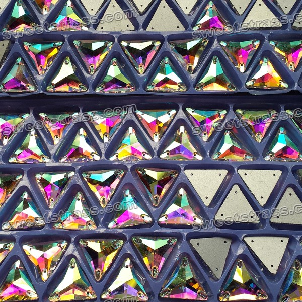 Flatback Sew On Rhinestones Wholesale-Triangle Rose AB