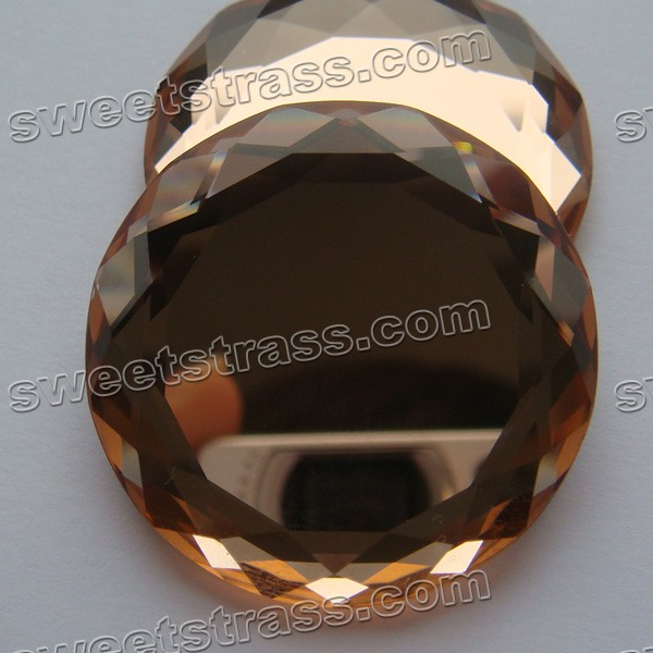 Fancy Flat Back Strass Wholosale- Round Smoked Topaz