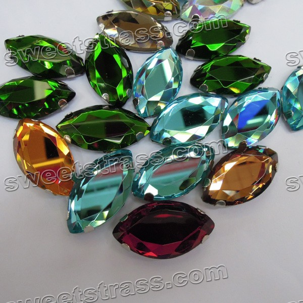 Glass Sew On Gems Crystals In Settings Oval