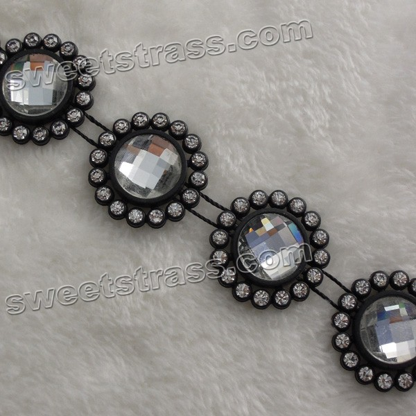 Plastic Set Rhinestone Crystal Trim By The Yard