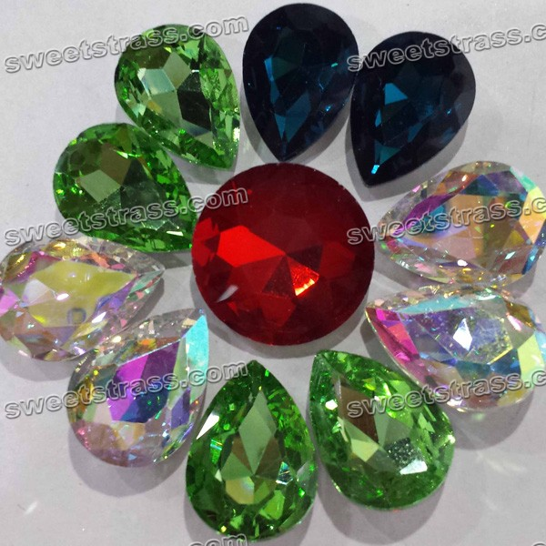 Fancy Stones Pointed Back Rhinestones - Colorful Tear Drop