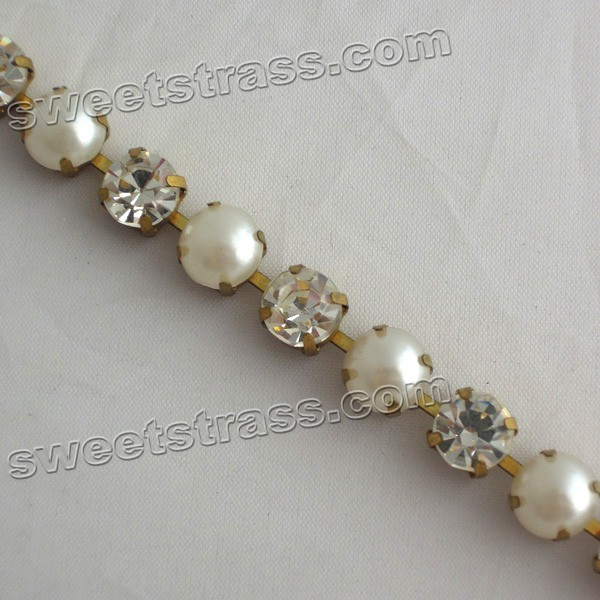 Pearl Rhinestone Strass Cup Chains