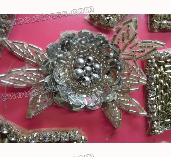 Iron On Rhinestone Crystal Flower Applique