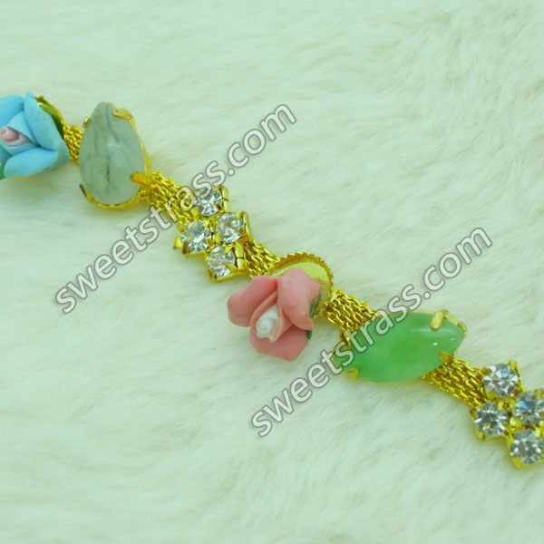 2015 New Design Flower Rhinestone And Gemstone Cup Chains
