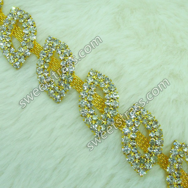 Golden Metal Base Crystal Rhinestone Trim Chains Wholesale