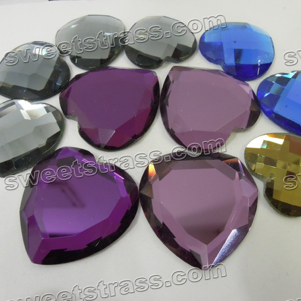 Faceted Heart Shaped Flatback Glass Cabochons Wholesale