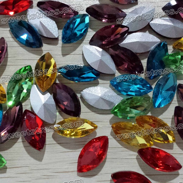 Faceted Oval Shaped Pointed Back Glass Gems Stones Wholesale