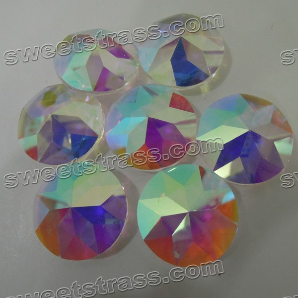Faceted Round Shaped Crystal AB Pointed Back Glass Jewels Wholesale