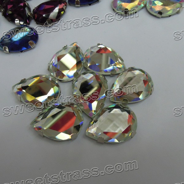 Wholesale Sew On Tear Drop Clear Glass Stone With Prong