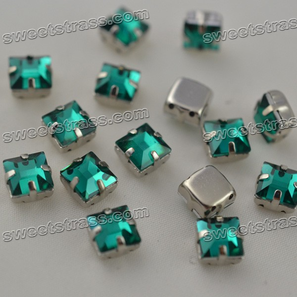 Wholesale Sew On Square Faceted Crystal Jewels In Setting