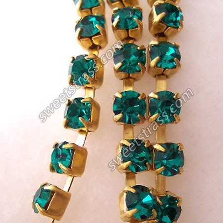 Emerald Crystal Rhinestone Cup Chain By The Yard Wholesale