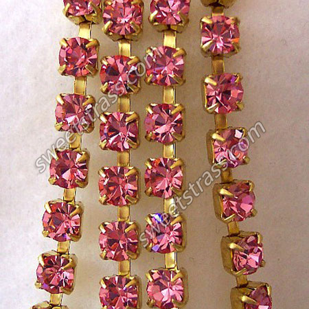 Light Rose Rhinestone Chaton Cup Chain Wholesale