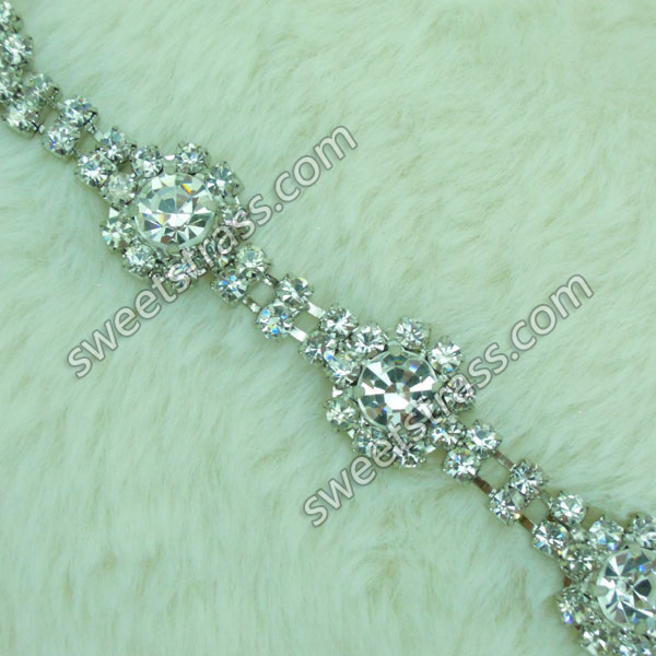 Wholesale Clear Crystal Rhinestone Cup Chain Trim For Dress