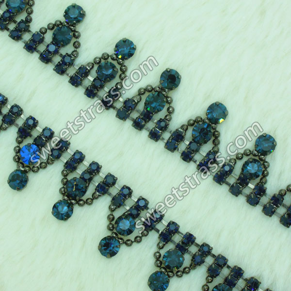 Shoes Blue Strass Rhinestone Chain Trim Jewelry Wholesale