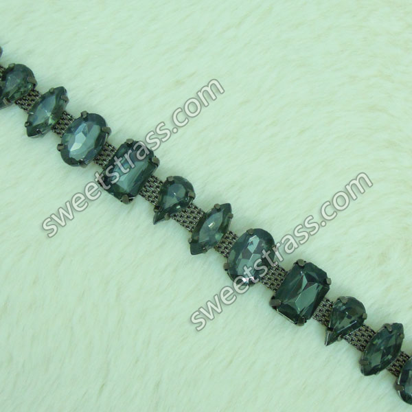 Wholesale Faceted Strass Rhinestone Cup Chain Trim For Shoes
