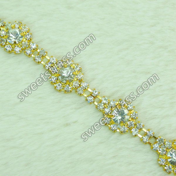 Gold Crystal Rhinestone Cup Chain Trim For Shoes Wholesale