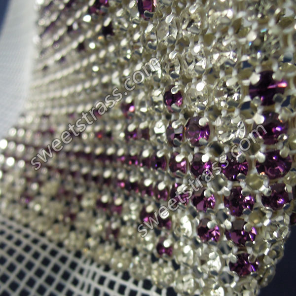Wholesale 24 Rows Silver Metal Set Strass Rhinestone Ribbon Wrap