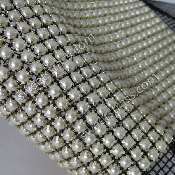 Wholesale 24 Rows Metal Set Banding Mesh Pearl Ribbon Trim