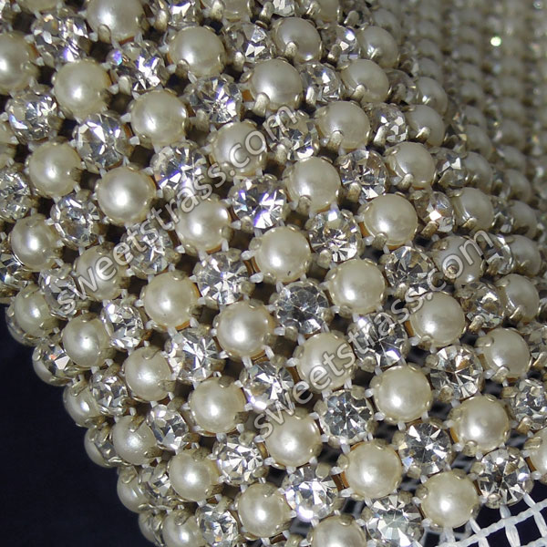 Wholesale 24 Rows Banding Mesh Pearl And Crystal Ribbon By The Yard