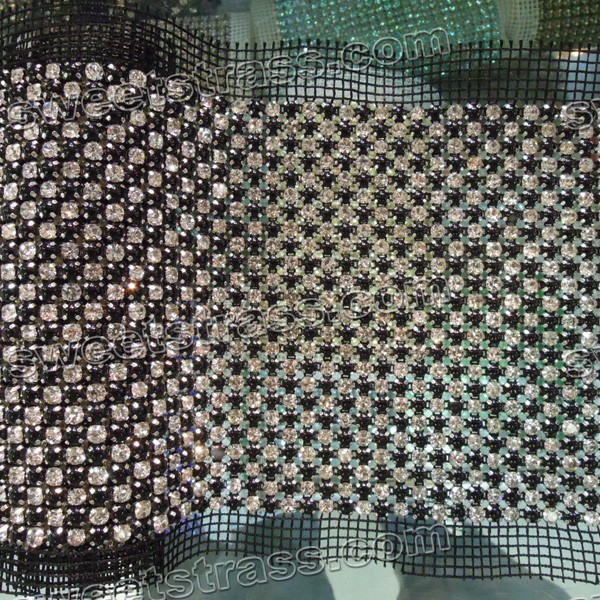 Wholesale 24 Rows Black Pearl Rhinestone Ribbon Banding By The Yard