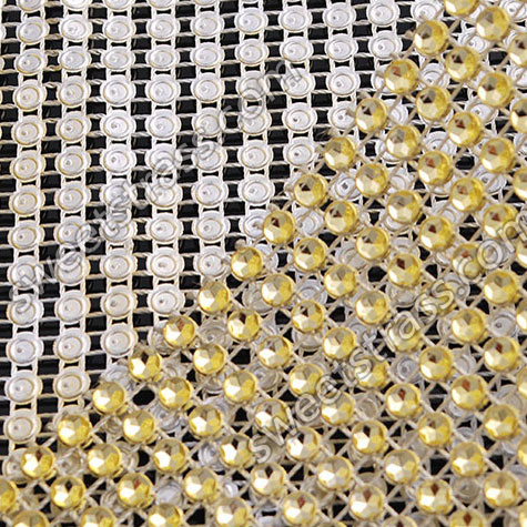 Wholesale Yellow Plastic Rhinestone Diamond Mesh Ribbon Trim