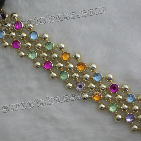 Wholesale Plastic Gold Crystal Rhinestone Ribbon Trims