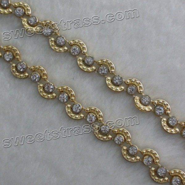Wholesale Plastic Banding Gold Crystal Rhinestone Ribbon