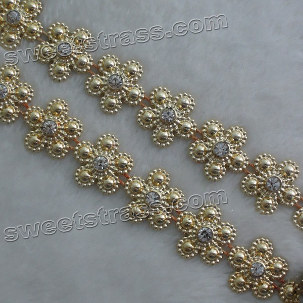 Wholesale Plastic Flower Crystal Rhinestone Banding Trim