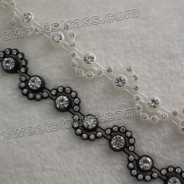 Wholesale Plastic Black Rhinestone Ribbon Trim For Shoes