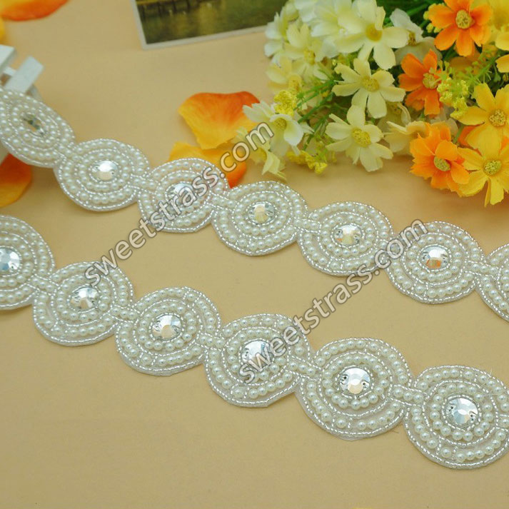 2015 Bridal Pearl Beaded Rhinestone Appliques Jewelry For Dress