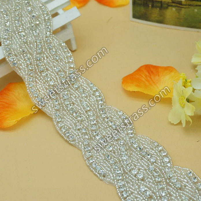 2015 Bridal Crystal Rhinestone Trim Appliques Decorate Dress