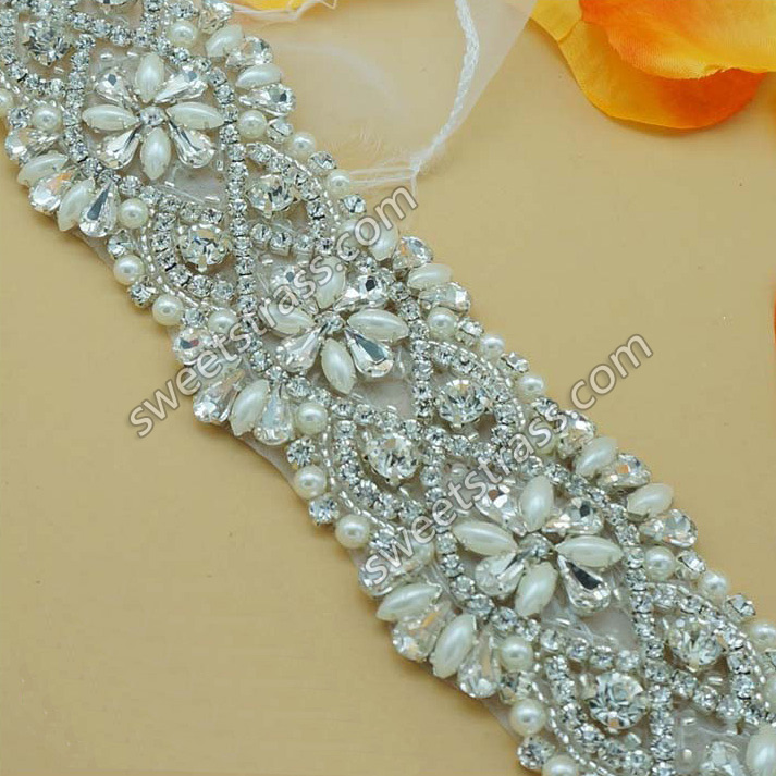 2015 Newest Bridal Appliques Pearl Rhinestone Trim Wholesale