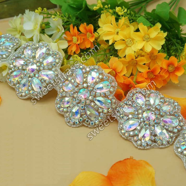 2015 Flower Crystal AB Rhinestone Applique Trim For Dress