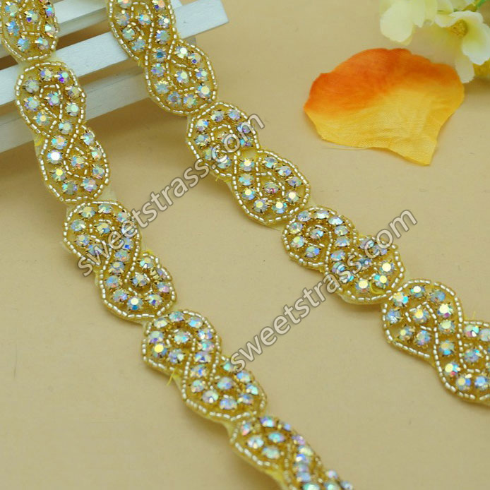 2015 Fashion Crystal AB Rhinestone Applique Ribbon For Dress
