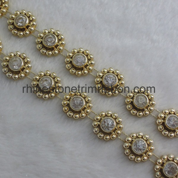 Golden And Silver Plastic Rhinestone Trimming Wholesale