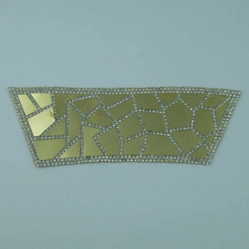 Shoes Accessory Hot Fix Crystal Rhinestone Gold Sequins Patch Wholesale