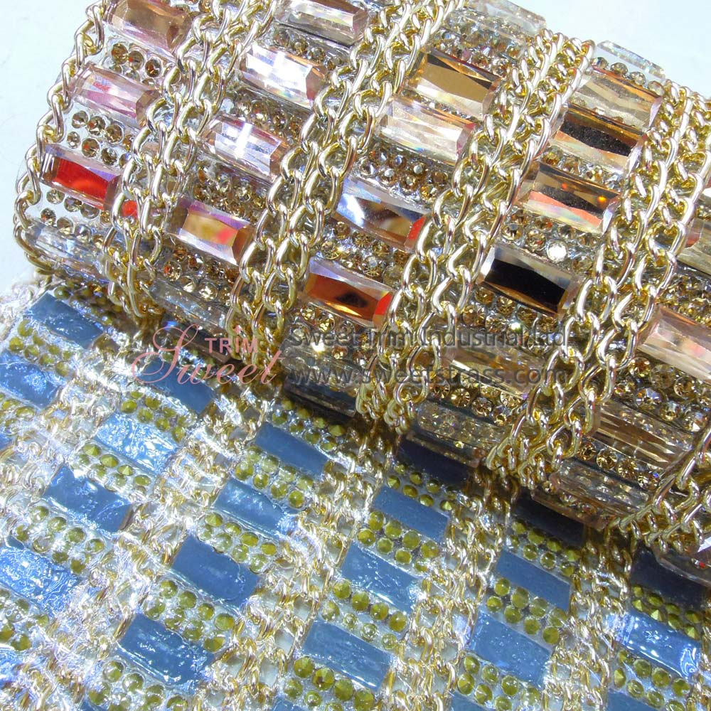 Self Adhesive Or Hot Fix Chain And Glass Rhinestone Sheet Roll