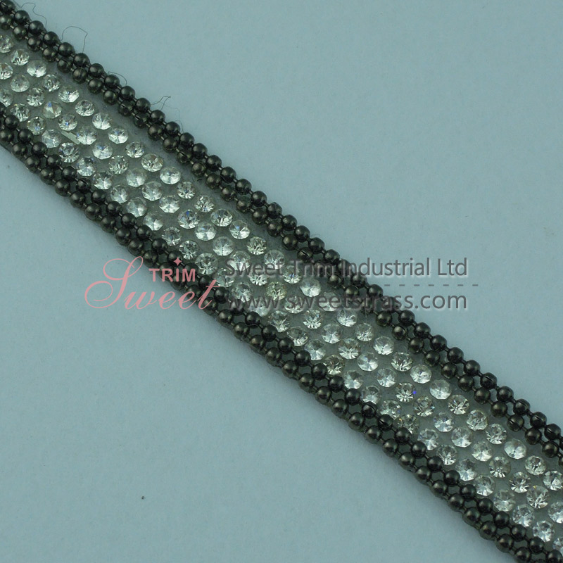 Hot Fix Chain And Crystal Rhinestone Strip Roll Wholesale
