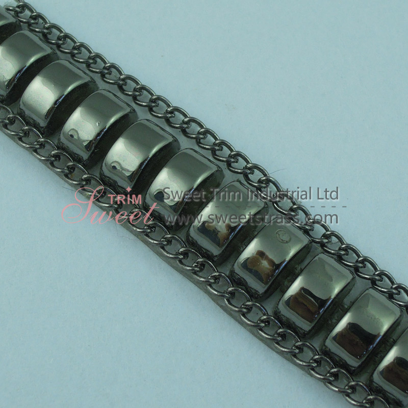 Iron On Aluminum Chain And Steamed Buns Banding Trim Wholesale