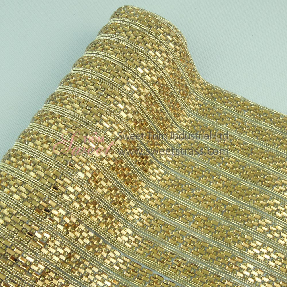 Hotfix Golden Metal Chain Glass Rhinestone Sheet Mesh Wholesale