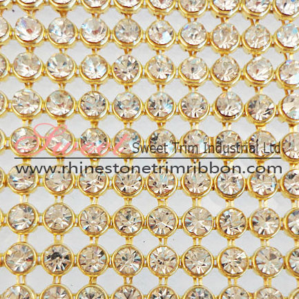 Gold Hot Fix Aluminum Crystal Rhinestone Mesh Rolls Wholesale