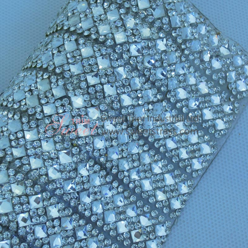 Hotfix 4mm Square Strass Crystal Sheet Mesh