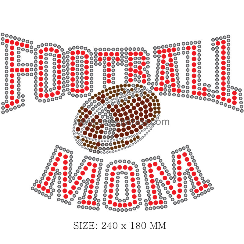 Football Motif Iron on Strass Transfer Designs