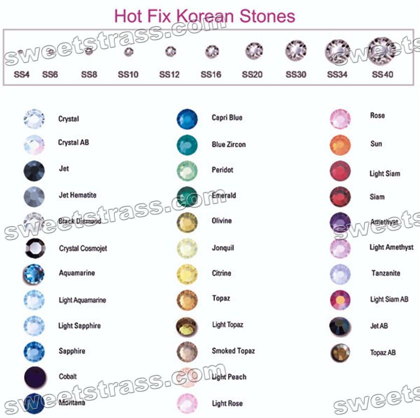 Rhinestones Color Chartwholesale Hotfix Rhinestone Crystalsstrass