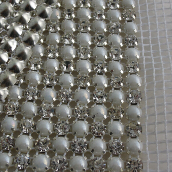 Metal Ribbon With Rhinestones Mesh Wrap