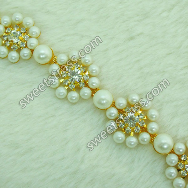 Wholesale Gold Rhinestone Pearl Cup Chain Trim For Shoes