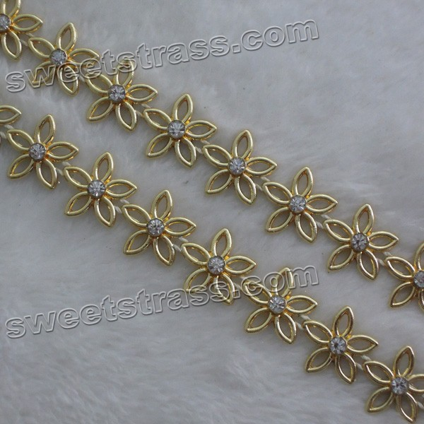 Flower Plastic Shoes Rhinestone Banding Trim Wholesale